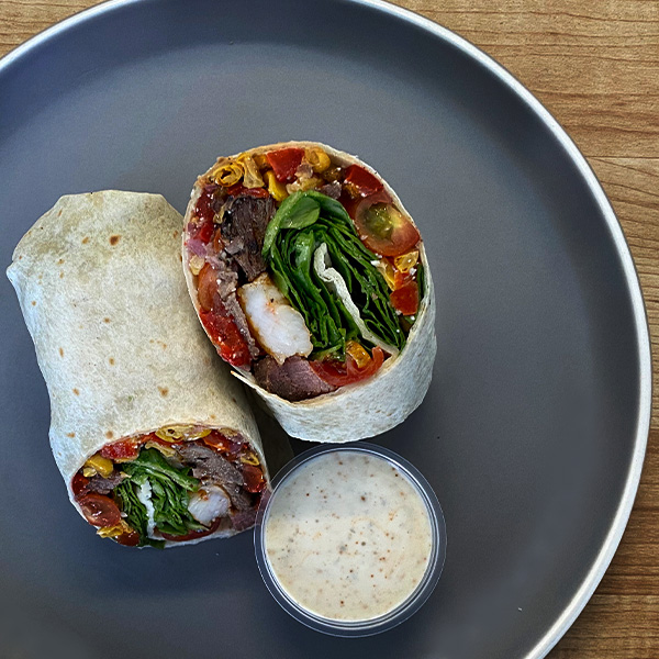 Southwest steak and shrimp burrito