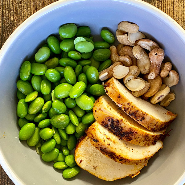 Chicken Breast, Cashews, Avocado Oil, Edamame