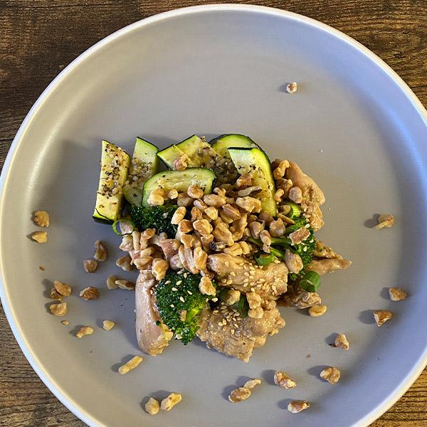 Teriyaki Chicken, Walnuts, zucchini