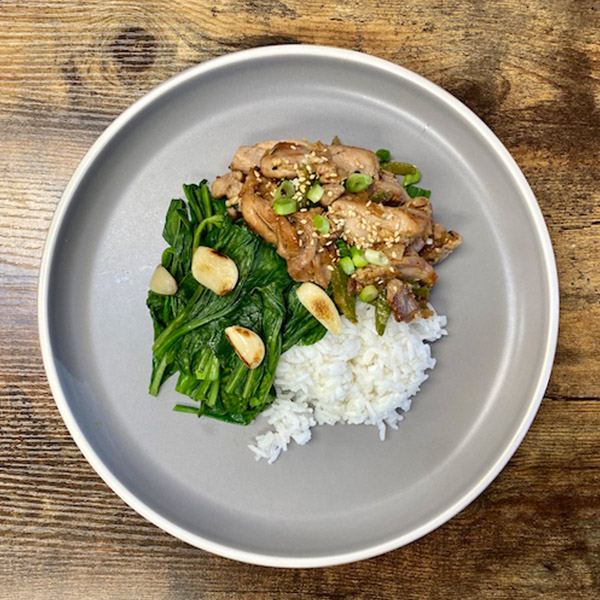 Garlic Celery Chicken Served with Choy sum and Rice
