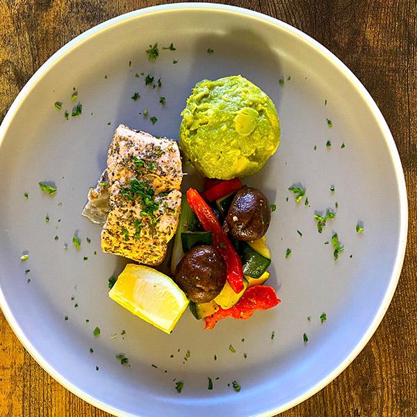 Salmon Sautéed Veg and Guacamole