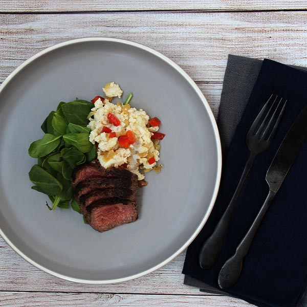 Teriyaki steak with egg White Scramble
