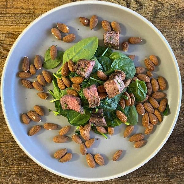 Steak, Almonds, Spinach