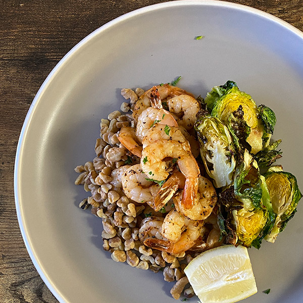 Shrimp, Brussels Sprouts, Walnuts